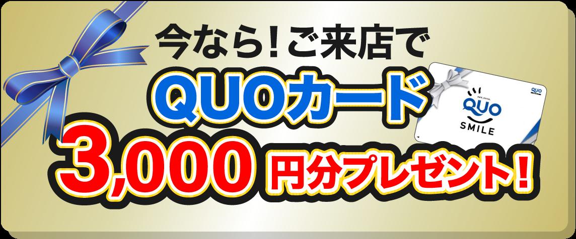 今なら!ご来店でQUOカード3,000円分プレゼント!